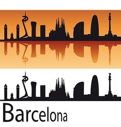 Barcelona Skyline in orange background vector image vector image