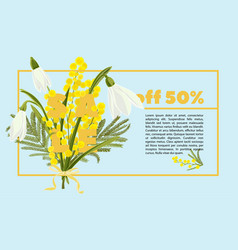 floral snowdrops and mimosa hand drawn colored vector image
