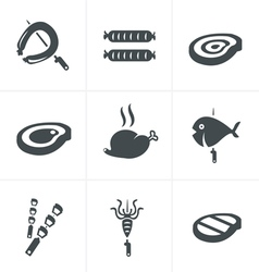Grill and barbecue related icons set vector image