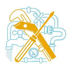icon plumbing in the linear vector image