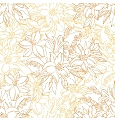 Seamless Pattern Lily Flowers Contours vector image vector image