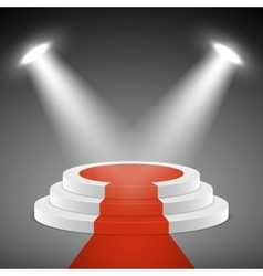Spotlights illuminate stage pedestal with red vector image vector image