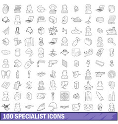 100 specialist icons set outline style vector image