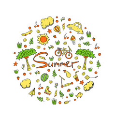 a summer holiday in bright colors doodle vector image