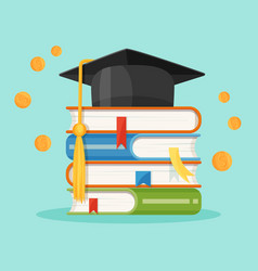 degree square cap on piles of textbooks vector image