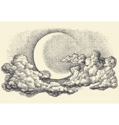 Night sky moon in the clouds hand drawing vector