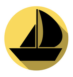 sail boat sign flat black icon with flat vector image vector image
