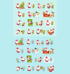 santa reindeer snow maiden ice princess elf set vector image