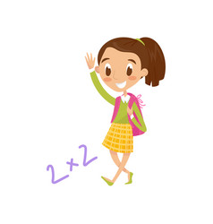 schoolgirl carrying backpack and waving her hand vector image vector image