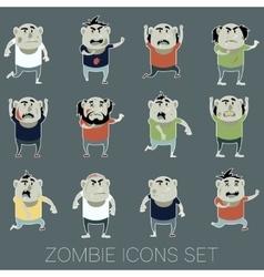 Set of zombie cartoon icons3 vector image