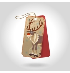cute Christmas gift tags with red nose vector image