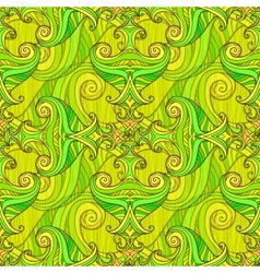 Green seamless abstract hand-drawn pattern vector image