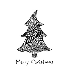 Greeting card with hand drawn Christmas tree vector image