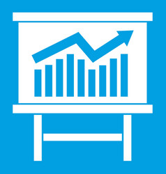 growing chart presentation icon white vector image vector image