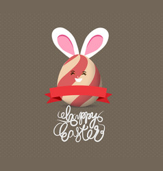 happy easter eggs with rabbit ears vector image