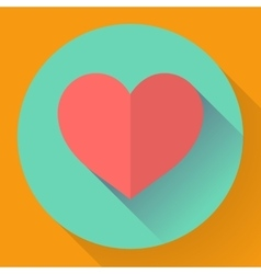 Heart with long shadow Flat designed style vector image vector image