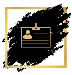 Id card sign golden icon at black spot vector