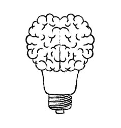 light bulb with brain in top in black blurred vector image