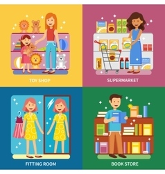 Shopping concept 4 icons banner square vector