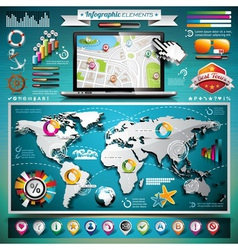 summer travel infographic set with world map vector image vector image