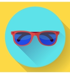 Sunglasses icon with long shadow Flat design vector image vector image
