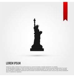 Black silhouette statue of liberty Flat vector image