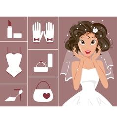bride and wedding accessories vector image vector image