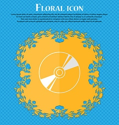 Cd DVD compact disk blue ray Floral flat design on vector image