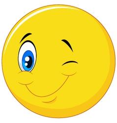 Happy emoticon cartoon with eye blinking vector image vector image