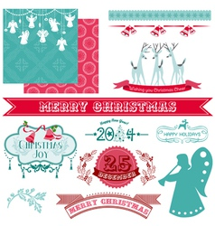 Scrapbook Design Elements - Vintage Christmas vector image vector image