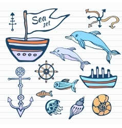 Sea life sketch hand drawn doodle set Nautical vector image