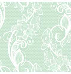 seamless pattern white lace on mint green vector image vector image