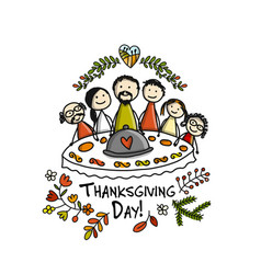 thanksgiving day family together have a dinner vector image