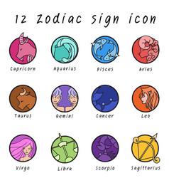 12 zodiac sign icon in cricle shape vector