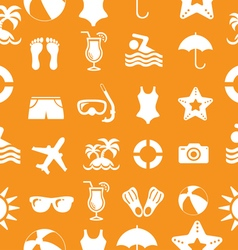 1Seamless Beach and vacation icons pattern vector image