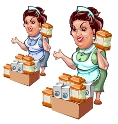 Adult woman seller of products salt and sugar vector image