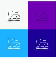 Arrows forward graph market prediction icon over vector