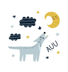 auu print with cute wolf howling at moon vector image