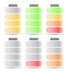Battery level indicator set color coded vector