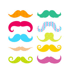 Beautiful colored mustache with different patterns vector