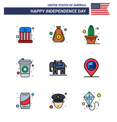 Big pack 9 usa happy independence day usa flat vector