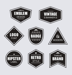 Black retro and vintage labels banners icons set vector