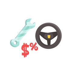 black steering wheel and spanner car service vector image