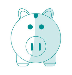 Blue silhouette shading cartoon piggy bank with vector