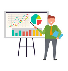 Businessman standing at interactive whiteboard vector