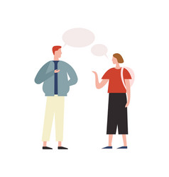 Cartoon trendy male talking with hipster girl vector