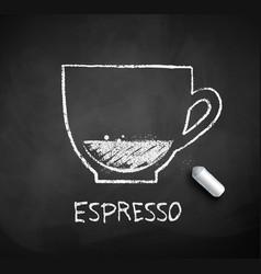 Chalk drawn sketch espresso coffee cup vector