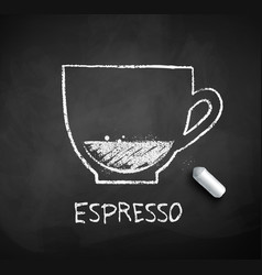 Chalk drawn sketch of espresso coffee cup vector