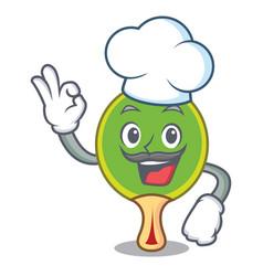 Chef ping pong racket character cartoon vector