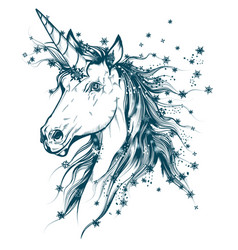 christmas hand drawn unicorn with blue snowflakes vector image